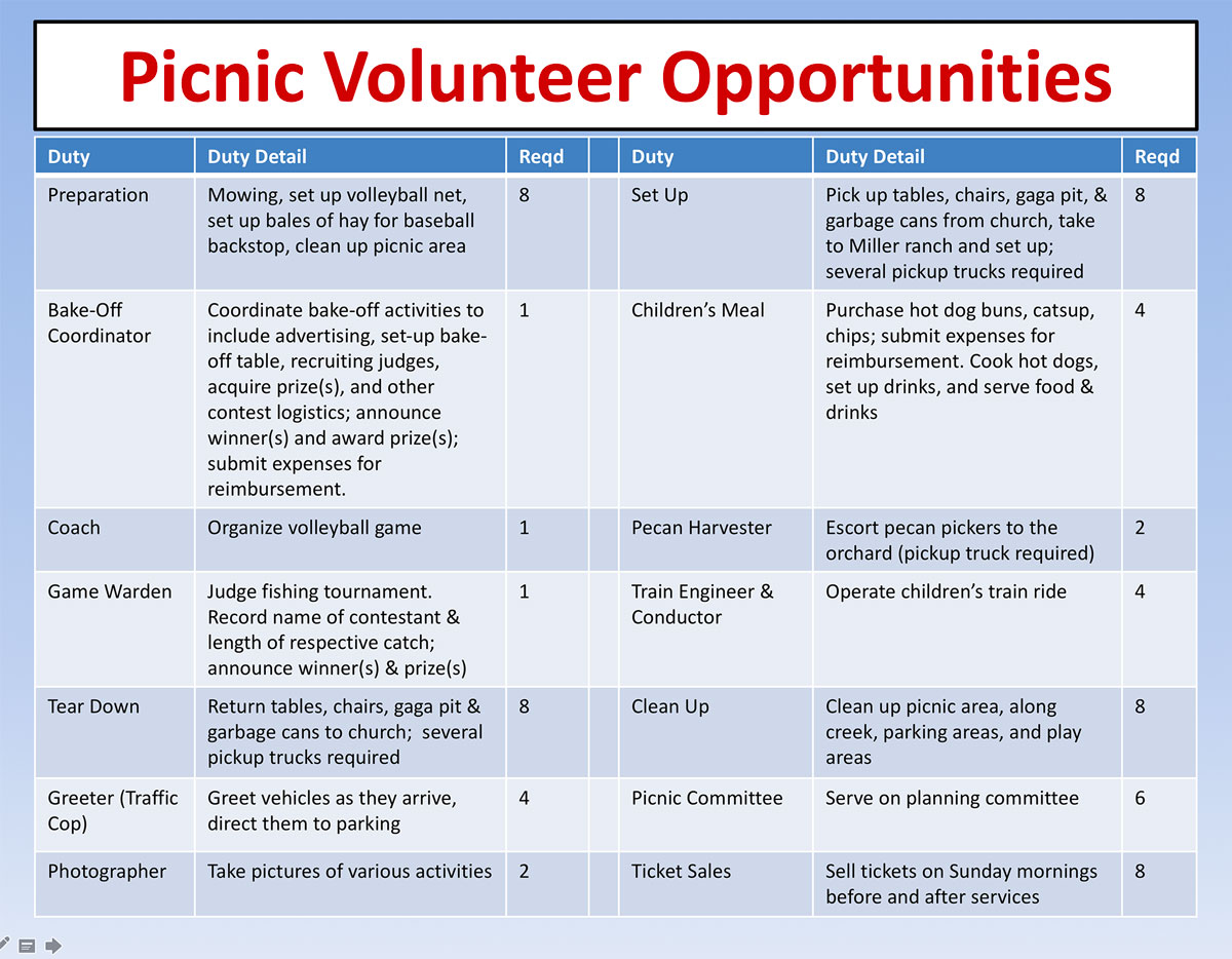 picnic volunteers needed