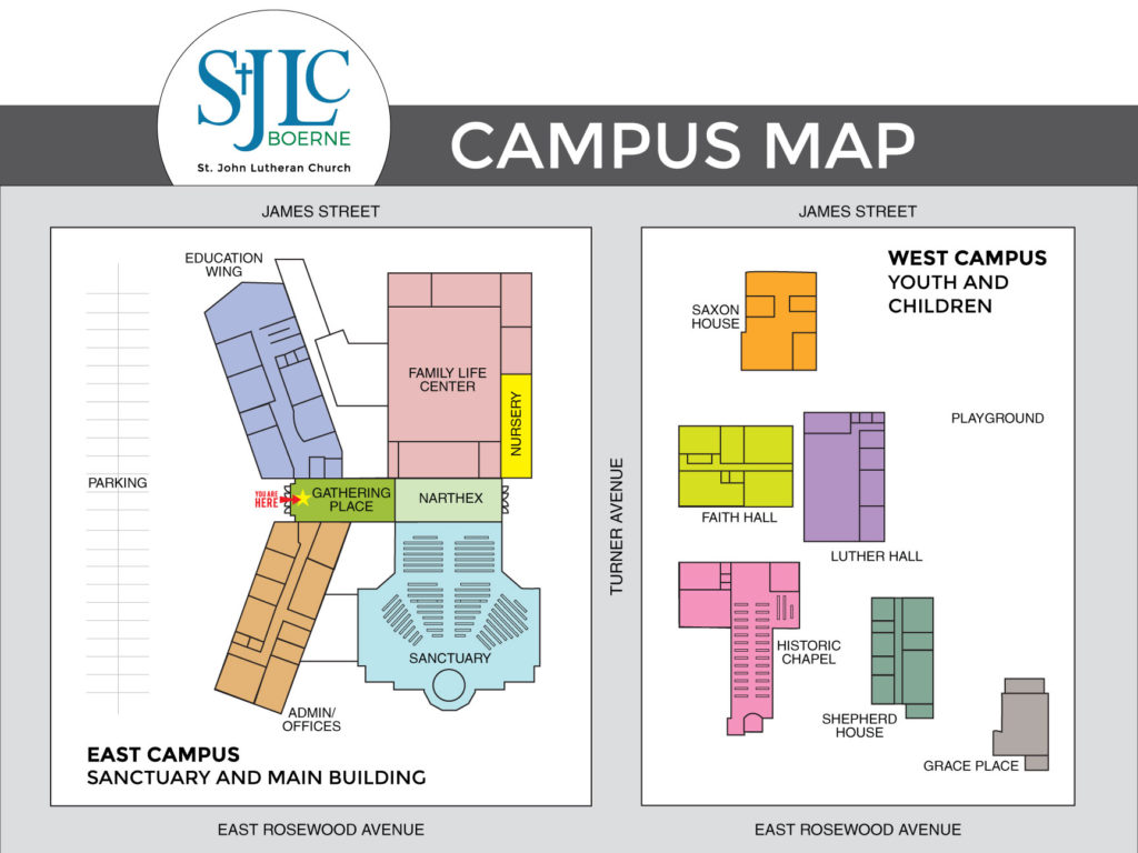 Holy Family Campus Map.Campus Map St John Lutheran Church Boerne Tx