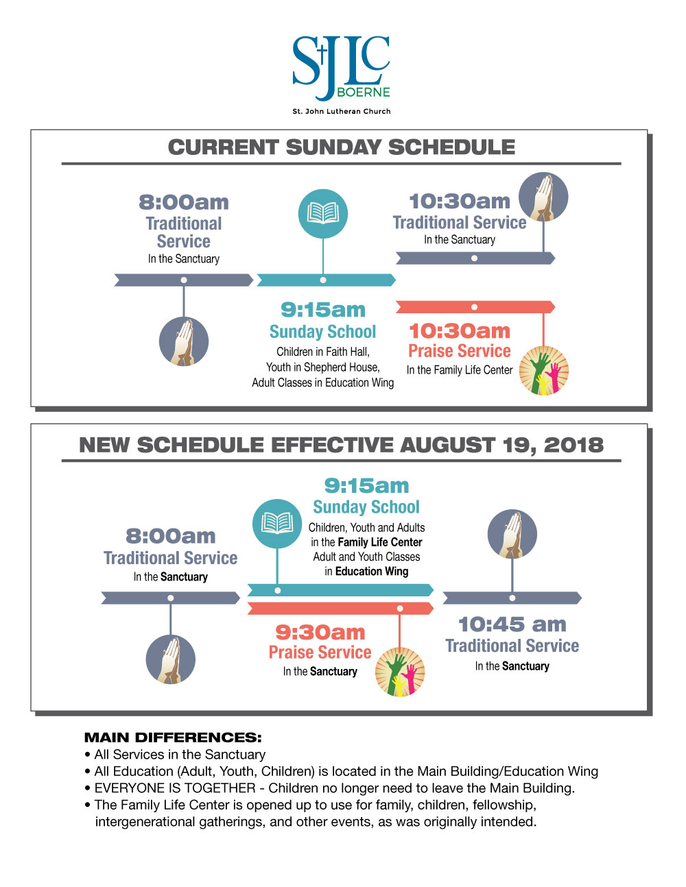 worship schedule changes infographic