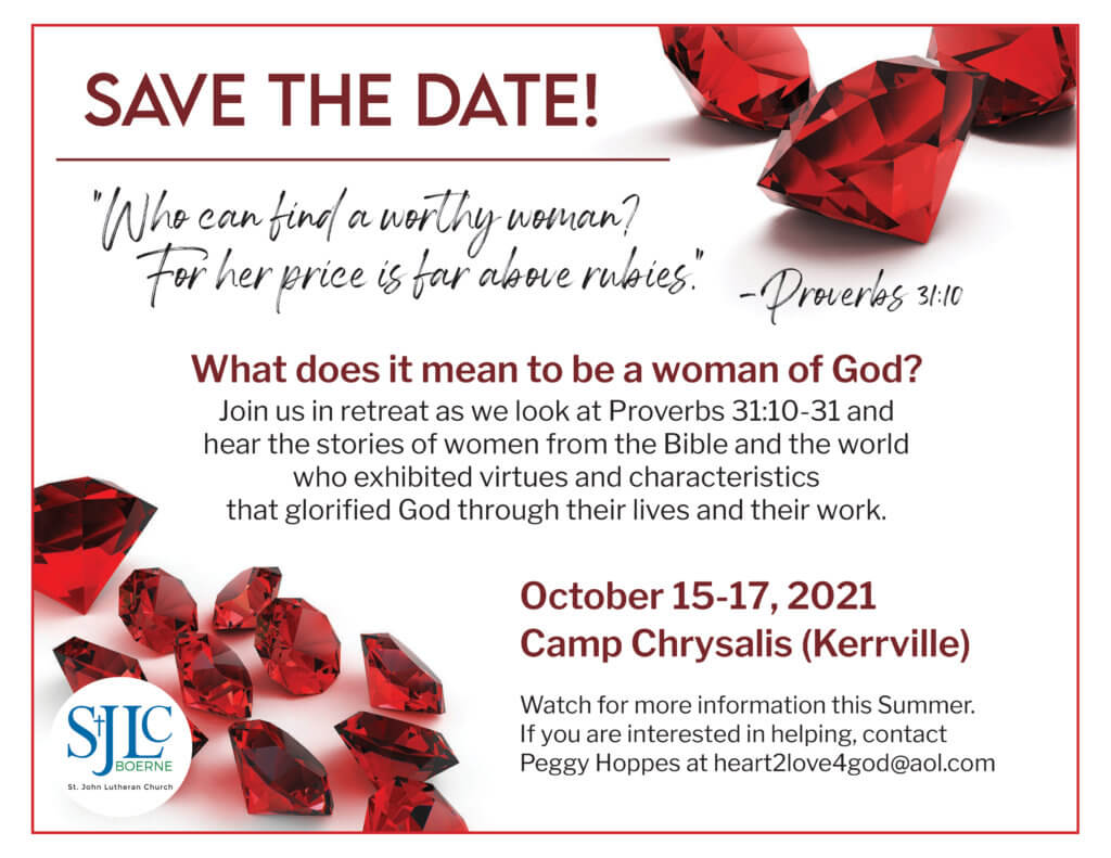 Save the Date Women's Retreat Fall 2021